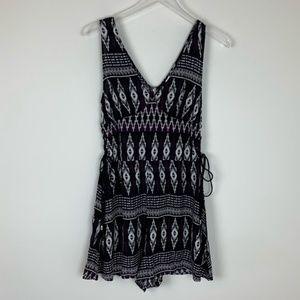 H&M Printed Boho Romper Lace Up Sides Sleeveless